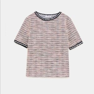 NWT Zara Textured Top with Faux Pearl Band